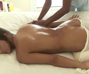 51:27 , Slender titillating incomprehensible relaxes at massage and gets pussy fing