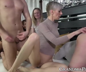 7:00 , Gang of grannies devours a tits of massive young hard cocks