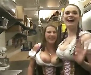 43:44 , Threesome with several busty barmaids