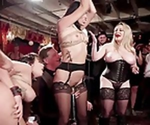 9:36 , BDSM swingers orgy with glitter & electro beatings