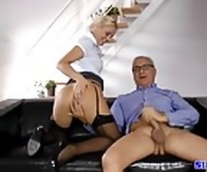 10:00 , Cute euro amateur pussyfucked by old man