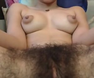 11:56 , Hairy gal, inflated nips  fingering pussy