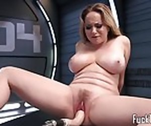 10:00 , Busty blonde rubs pussy before dildo toying
