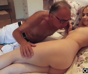 10:24 , 18 yo unsubtle kissing plus fucks will not hear of step dad in bedchamber