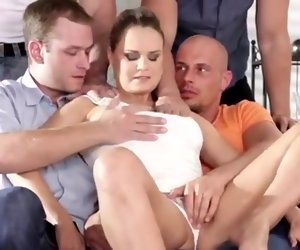 28:34 , sexy blonde gets fucked by 4 cocks
