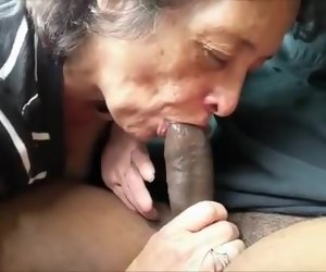 1:51 , Hungry grandma eating a broad in the beam black bushwa