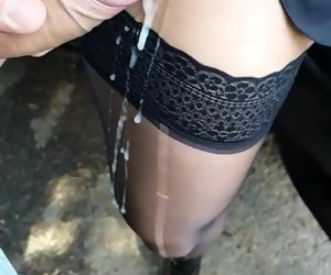 10:09 , Mature 49 y.o. public car fucking and cum on their way stockings