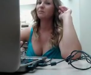 50:01 , Big breasted blonde mom sensually touches herself in a publ